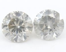 0.75 ct Pair Natural Round Brilliant Diamonds