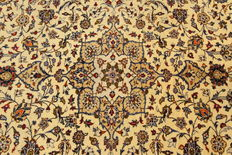 Fine Persian carpet Kashan 3.07 x 2.06 cream hand-knotted, high quality, new wool oriental carpet, GREAT CONDITION