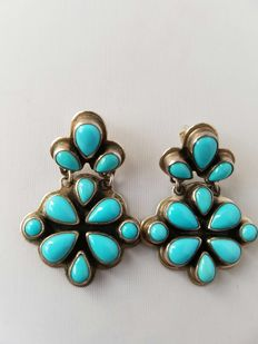 Navajo, sterling silver earrings – with very rare turquoise – by master Geneva.