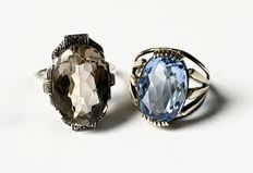 2 antique silver rings with large natural stones