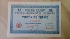 Luxembourg - 25 francs 1914-18 - Pick 31