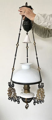 Art Nouveau hanging oil lamp - black gold-plated - early 20th century