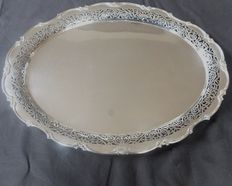 Solid silver serving tray, open work edge, Germany, Gebrueder Kuehn, Schwabish Gmund, founded 1860