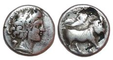 Greek Antiquity - Italy, Central and Southern Campania, Neapolis - AR Suberate Didrachm, c. 320-300 BC - Head Nimph / Man-headed bull - HN Italy 571