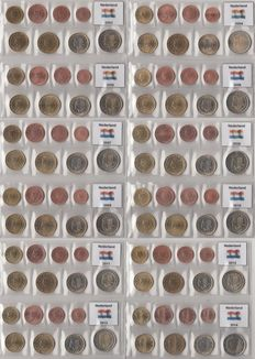 Netherlands - Year series 2003 through 2014 (12 series, 1 cent through 2 Euros) complete.