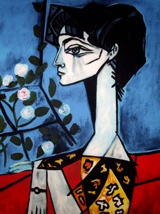 Pablo Picasso (after)  - Portrait of Jacqueline Roque with Flowers