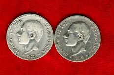 Spain – Alfonso XII (1874 – 1885), pair of coins of 2 silver pesetas – 1879 – Madrid EM·M Scarce