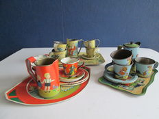 Germany - three tin children's  tableware - tray length of 19, 15, and 17 cm. Height of milk jug 7 cm, 1920s/1930s