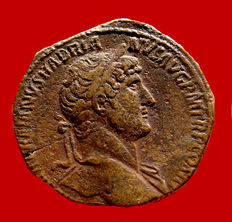 Roman Empire - Hadrian (117 - 138 A.D.) bronze sestertius ( 25,26 g. 32 mm.). Rome mint, 119 - 121 A.D. CONCORDIA EXERCITVVM, Concordia with legionary eagle and standard.