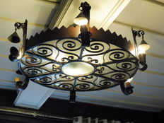 Large wrought-iron chandelier, mid-20th century