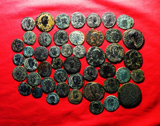 Roman Empire – Lot of 47 AE coins (late Roman Empire and Roman Empire) MAIORINA, FOLLIS, AS, ANTONINIANUS. Different emperors