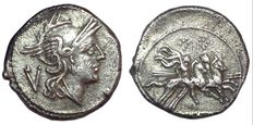 Roman Republic - Anonymous - AR Quinarius (15 mm; 2,06 g) - Rome mint, after 211 BC - Head Roma / Dioscuri - Cr. 44/6