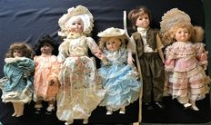 6 Dolls with porcelain heads