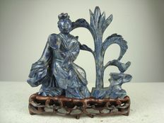 Sodalite statue of He Xiangu - China - middle of the 20th century