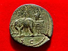 Roman Empire - Diva Faustina sestertius (20,57 grs. 32 mm.) minted in Rome after her deaht in 141 A.D. AETERNITAS. Faustina, holding sceptre, seated left in cart drawn left by two elephants with riders.