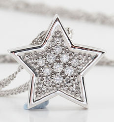14kt diamond star pendant necklace total 0.10ct. G-H/VS1-VS2. necklace lenght: 44.00cm & 3.50gr.