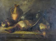 George Armfield. (1808-1893) -  Still life of dead game and onions.