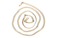 Yellow gold curb link necklace in 14 kt. Length: 52 cm