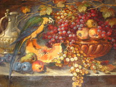 F. Thurmaier. (20th century)-still life with fruit and parrot (Ara).