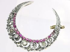 Antique Victorian diamond and strass stones set gold 'half moon' brooch, 1890