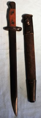Bayonet for. 303 Cal. SMLE , MK. II 1943 India/Uk in very good condition, complete with sheath, maker J.U.   WWII