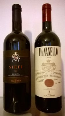 Lot of 2 bottles: 2010 Siepi, Castello di Fonterutoli (Marchesi Mazzei) & 2008 Tignanello, Marchesi Antinori – 2 bottles in total.