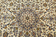 Fine Persian carpet Kashan 4.20 x 2.97 cream, hand-knotted in Iran, high-quality new wool, oriental carpet, TOP CONDITION