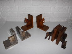 Collection of 3 old bookends, including art deco, beautiful exclusive Item!