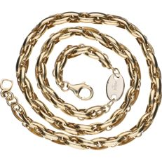 Yellow gold link necklace in 14 kt with white gold centre piece 45.7 cm