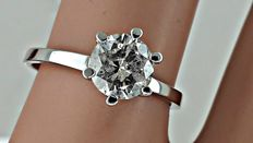 1.02 ct round diamond ring made of 14 kt white gold +++ no reserve price +++