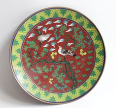Cloisonné dish with birds - Japan - first half 20th century