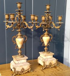 A set of 5-light fireplace candle-holders - France - ca. 1880
