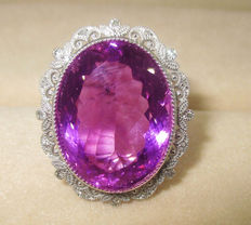 Massive 22 ct natural  amethyst ring with diamonds
