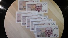 Belgium - 8 x 100 francs - Beyaert - Pick 140 and 142 - all have different signatures