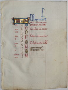 "Manuscript; Original calendar sheet ""Mayus"" of the month of May from a manuscript-15th century"