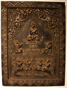 "Votive  panel ""The worship of Buddha"" - Myanmar / Burma - 2nd half of 20th century"