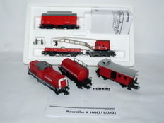 """Märklin H0 - 46716/29755 - Digital controlled crane with sound carriage with diesel locomotive """"Feuerwehr"""" and 2 carriages of the DB"""