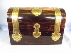 A Victorian coromandel and brass mounted stationery box - England - circa 1880