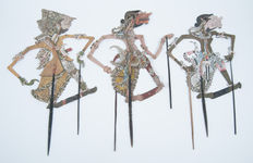 Three wayang kulit puppets – Mid- and Eastern Java – Indonesia