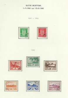 Jersey and Guernsey and Serbia German Occupation – Stamps and letters on album sheets and series Servie Michel numbers: 1/15 on postcard,