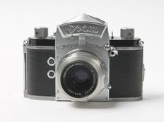 Anniversary EXA Ihagee Dresden with logo + Zeiss Tessar 1959 with original leather bag
