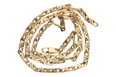 Yellow gold decorated curb link necklace in 14 kt, length: 42 cm