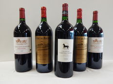 1 lot of 5 magnums, 2 chateau mayne bernard, 2 chateau des Rochers and 1 chateau Cheval noir 1.5L