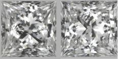 1.00 ct in total Princess Cut Dvvs2-Dvs1 GIA - Serial# JP55 Original Image -10X