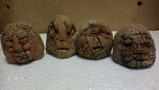 4 terracotta art paperweight-samurai mask