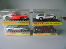 Dinky Toys-FR/GB - Scale 1/43 - Lot of 4 cars: Ford 40 RV No.132, De Tomaso Magusta No.187, Ferrari P5 No.220 and Porsche Carrera No.503