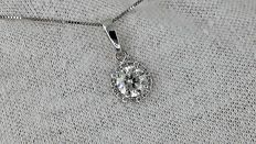 1.20 ct round diamond pendant in 14 kt white gold