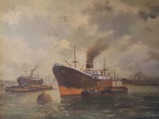 H. Verhaaf (20th century)-harbour view.