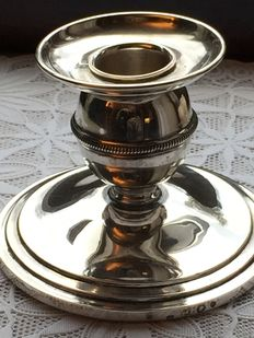 Silver candle stand with snuffer, Van Kempen, 1947