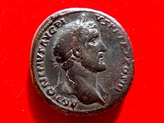 Roman Empire - Antoninus Pius (138 - 161 A.D.) bronze sestertius (27,31 g. 32 mm), Rome mint, 143-144 A.D. IMPERA-TOR II, S-C across fields, Fides standing right, holding grain ears in right hand.